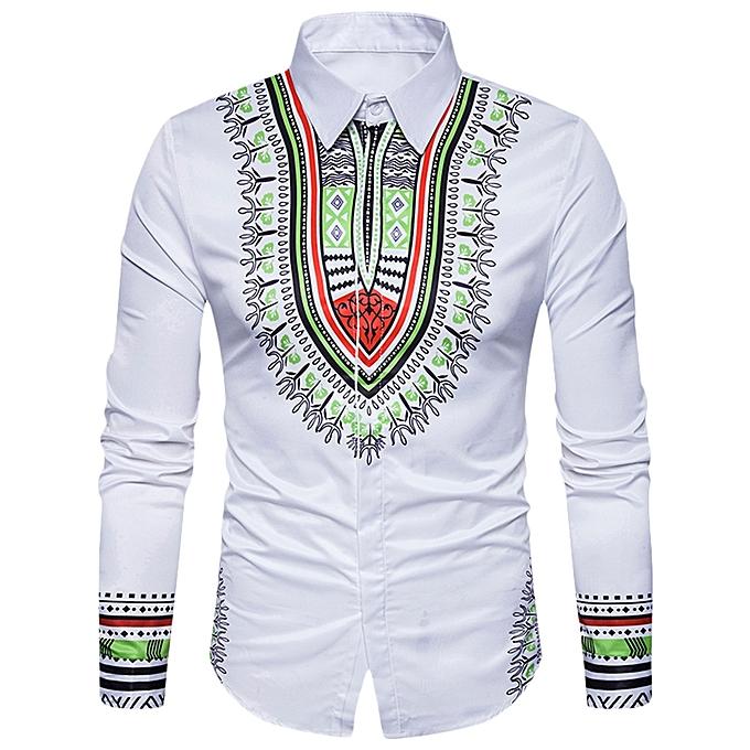 0a2bffc0f Long Sleeve Shirt Men 3D Printing Slim Fit Turn-down Collar Casual Male  Clothing -