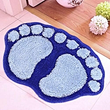 Blue Footprint Plush Shaggy Bathroom Soft Non Slip Absorbent Mat