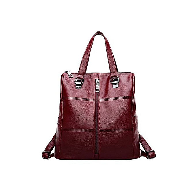 43e69e278d54 ... Zetenis Vintage Girl Leather School Bag Backpack Satchel Women Travel  Shoulder Bag -Red ...