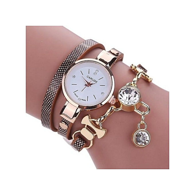 AI Fashion Women's Ladies Faux Leather Rhinestone Analog Quartz Dress Wrist Watches