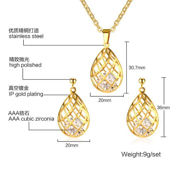 Direct batch 36MM stainless steel zircon hollow suit Pendant-ear nail gold  new jewelry S-212G-Suit without Chain