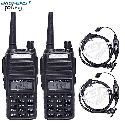 2PCSBF-UV82 Plus 8W poweful Walkie Talkie 10KM Long Range cb Radio upgrade  of bf uv 82 With Air Acoustic Tube Headset ObeyQ