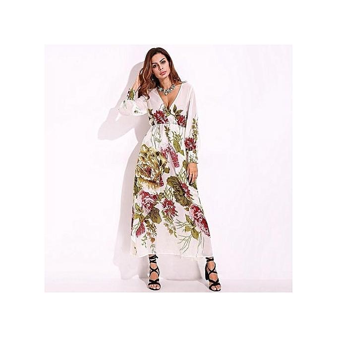 59470eaa73e ... Boho Shift Dress Sundress Vestidos · Women Chiffon Casual Maxi Long  Dress Plus Size S-5XL Floral Party Beach Sexy Long