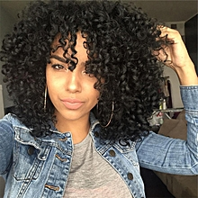 Wig black lady fashion realistic chemical fiber short curly hair wig-black