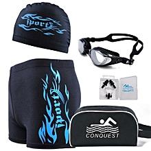Men's 5 Pecs Myopia Goggles + Cap + Earplugs + Nose Clips + Bag + Swimming Pant(Size:150°)