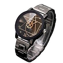 Men Executive Stainless Steel Ring  Watch- Black.
