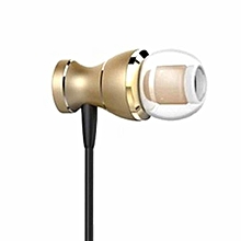 Professional Earphone With Microphone 3.5mm Standard Stereo Unisex HD Sound Gold
