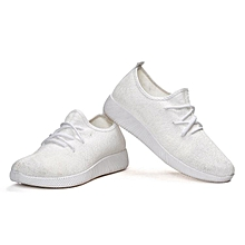 Womens Casual sport shoes Athletic Sneakers Running Breathable Mesh walking Flat WHITE