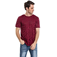 Men's Fashion O-Neck Short Sleeve Hip Hop Ripped Casual T-Shirt ( Red )