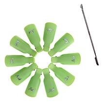 10PC Nail Soak Off Cap UV Gel Polish Remover and Cuticle Pusher Dead Skin Remove-Green