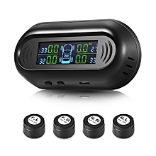 G50 Solar Powered TPMS Car Tire Pressure Monitor System 4 External Sensors  - Black
