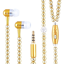 Pink Girl Rhinestone Jewelry Pearl Necklace Earphones With Microphone Earbuds For Iphone Xiaomi Brithday Gift Gold