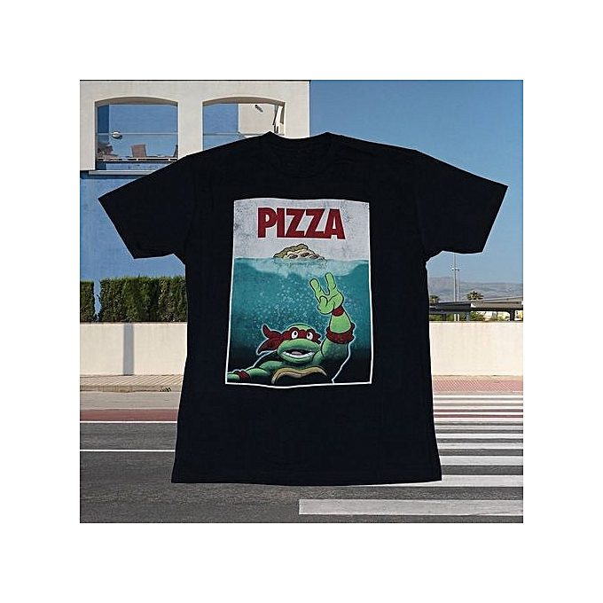 5d938090 Teenage Mutant Ninja Turtles Mens T-Shirt Black Pizza Grabing A Slice In  Ocean Image