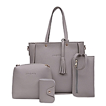 ee74fedaa459f Fashion Four Set Handbag Shoulder Bags Four Pieces Tote Bag Crossbody  Wallet Bags —grey