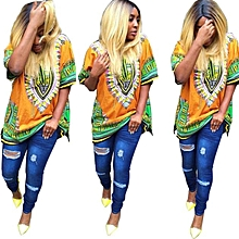 Fohting  Women African Print Dress Casual Straight Print Above Knee Mini Dresses -Yellow