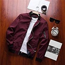 Men's Patchwork Bomber Jacket - Red Wine-M