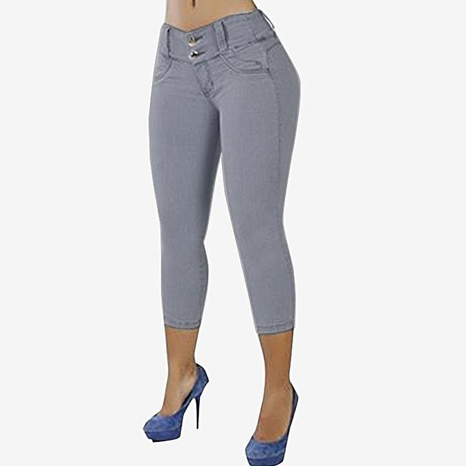 257547c0fbe ZANZEA Women Plus Size Slim Fit Pants Capris Jeggings High Waist Trousers  Grey