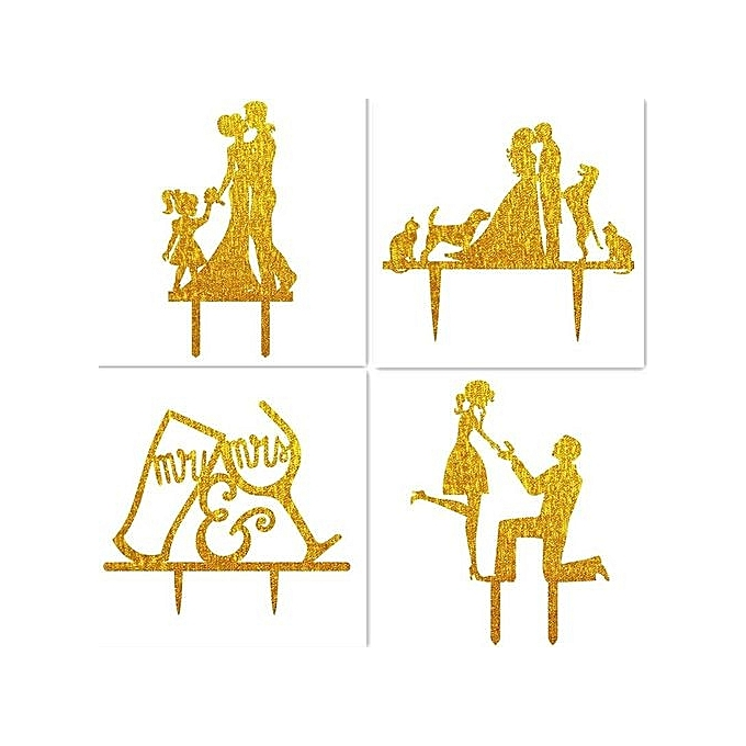 Buy Generic Wedding Cake Topper Silhouette Groom And Bride With 2 ...
