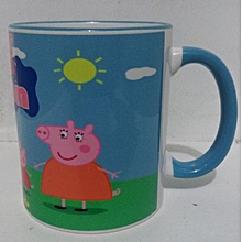 White Coffee Mug - blue handle and rim - with peppa pig Cartoon