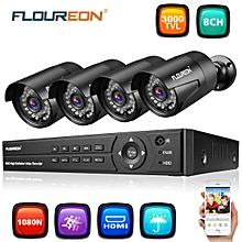 1x8CH 1080P 1080N AHD DVR+4xOutdoor 3000TVL 1080P 2.0MP Camera Security Kit EU Plug - BLACK
