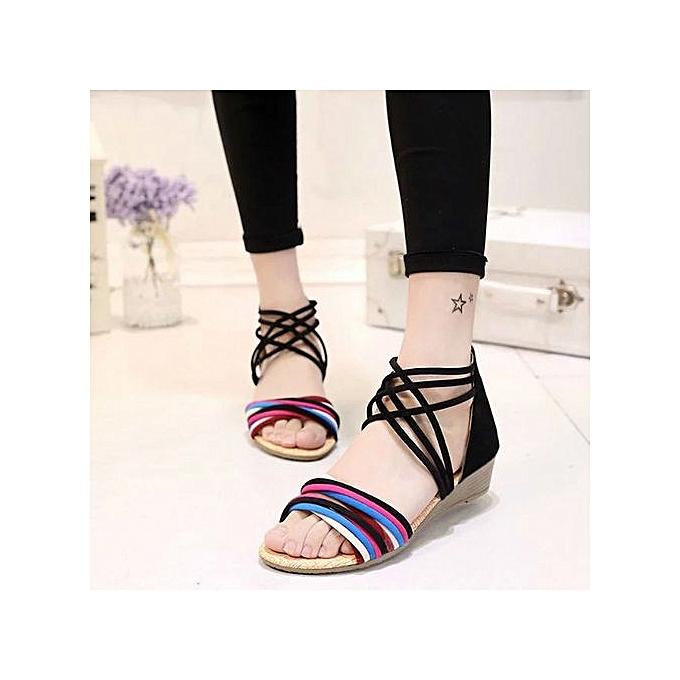 757a188bdf03 Jiahsyc Store Women Summer Bohemia Slippers Flip Flops Flat Sandals Beach  Thong Shoes BK 36