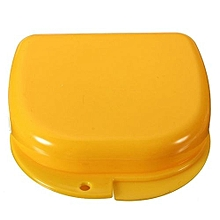 Dental Health Dentures Orthodontic Retainer Mouthguards Storage Box Case (Yellow)