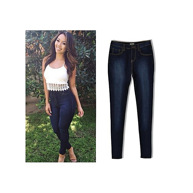 8747dc86e1 Hot Sale Fashion Women High Waisted Pencil Stretch Denim Jeans Pants Ladies  Skinny Tight Jeans Trousers