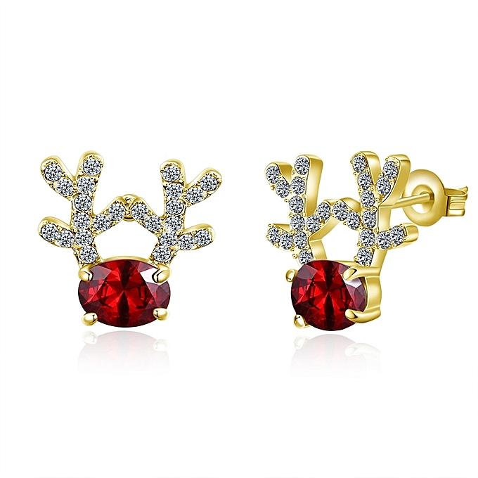 Christmas Antlers With Diamond Stud Earrings