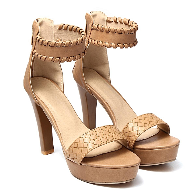 30b36d7fce61 Fashion Womens Ankle Strap Platform High Heel Sandals Casual Knit Weave  Peep Toe Shoes-EU