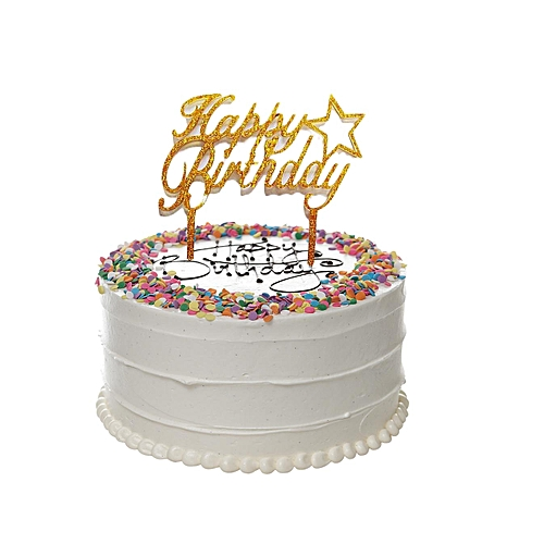 Generic Acrylic Golden Butterfly Happy Birthday Cake Topper
