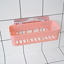 Fohting Plastic Suction Cup Bathroom Kitchen Corner Storage Rack Organizer Shower Shelf  -Pink