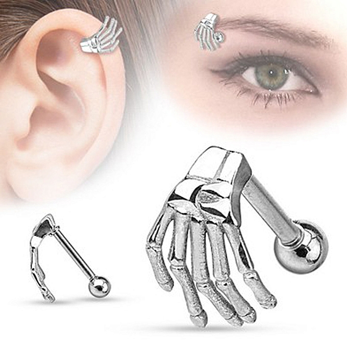 bf30fed47b5 Stainless Steel Earring Skeleton Ghost Hand Ear Tragus Piercing Body Jewelry -Silver