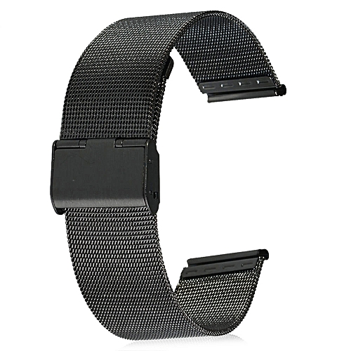 40ae164f60f 18mm Men Women Stainless Steel Mesh Watch Strap Folding Clasp With Safety  Bracelet - Black