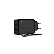 Charge 2.0 2 Ports Rapid Wall Charger VoltIQ Smart USB -Black