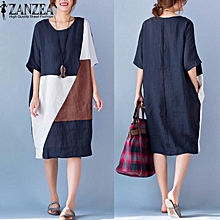 Vestido ZANZEA Women Round Neck Short Sleeve Loose Casual Kaftan Summer Patchwork Splice Shirt Dress Plus Size M-5XL (Navy)