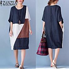 631fbda87fe Vestido ZANZEA Women Round Neck Short Sleeve Loose Casual Kaftan Summer  Patchwork Splice Shirt Dress Plus