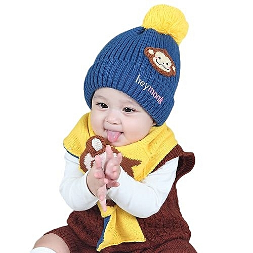 Eissely Baby Boys Girls Kids Cartoon Monkey Hat+Scarf 2Pcs Child Knitting  Warm Hats Cap 96988fbc489
