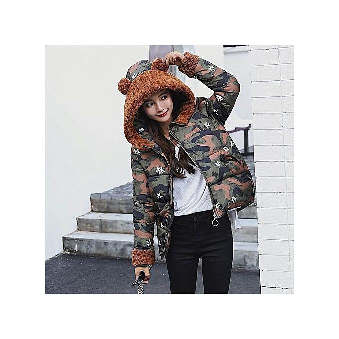 99ae5bf3e2a5 Hiaojbk Store Women Winter Warm Camouflage Coat Faux Fur Hooded Thick Slim  Jacket Overcoat-Green