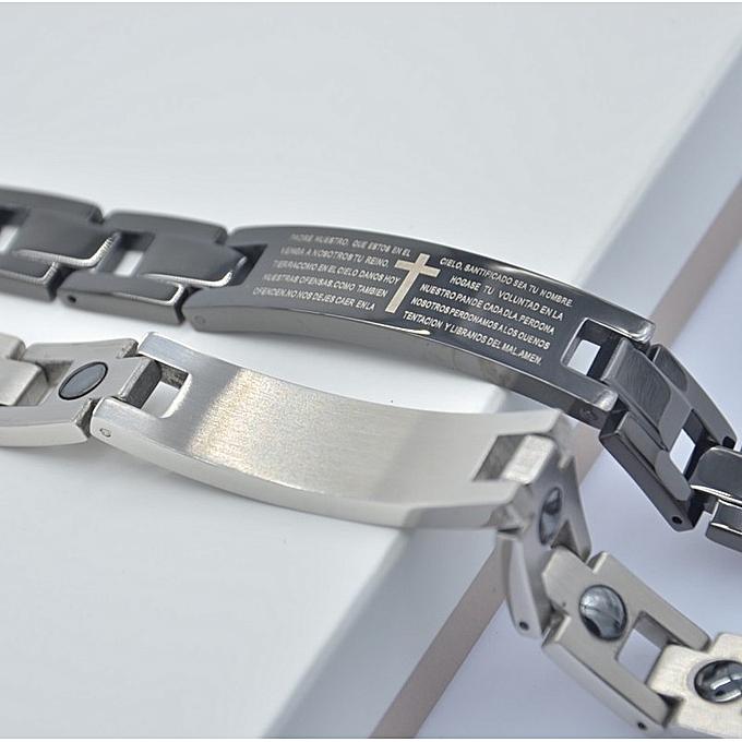 The black cross bracelet insets the loadstone Zhe stone heal