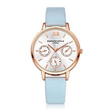 Luxury Women's  LVPAI Wrist Watches Women Classic Leather Band Analog Quartz Round Wrist Watch Watches Light Blue-Light Blue