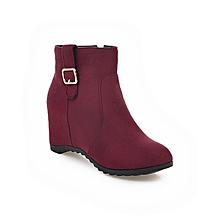 Women Ladies Female Suede  Ankle Boots, High Heels wedges