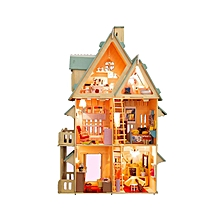 Colorful Mode Voice DIY Wooden Dollhouse Miniature Kids Educational Assembly Toy Birthday Gift