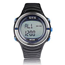 Round Multifunctional Smart Meter Step Counter Digital Sport Wrist Watch OTS black and blue