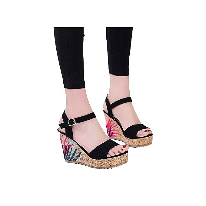 6294507ff460b ... Bliccol High Heel Shoes Bohemian Women Sandals Ankle Strap Straw  Platform Wedges Shoes High Heels Sandal ...