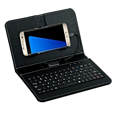 General Wired Keyboard Flip Holster Case For Andriod Mobile Phone 4.2''-6.8'' -Black
