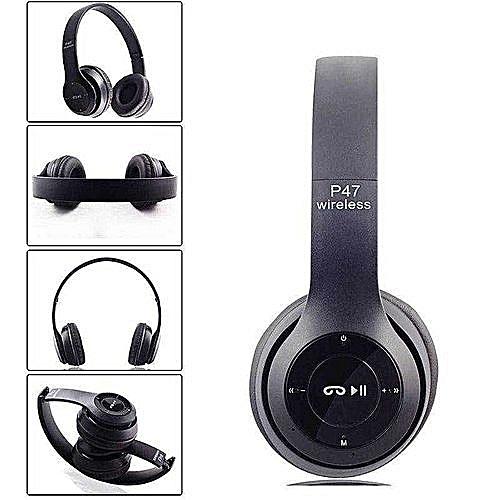 P47 Bluetooth 4.2 Headphone Wireless  Earphone Hands Free Music Headset-Black