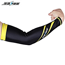 Riding Sports Outdoor UV Protection Cycling Arm Cover L - Yellow + Black