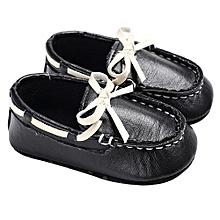 bluerdream-Kids Baby Boy Girl Shoes Leather Soft Bottom Toddler Shoes-Black