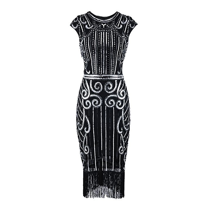 9d0474ffd718 Fashion 1920 s Vintage Women Tassel Sequin Art Nouveau Embellished Fringed  Flapper Dress