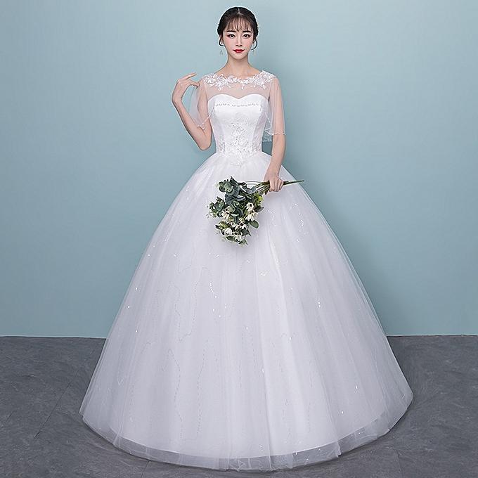 AFankara Classic Tulle Floor Length Wedding Dress-White